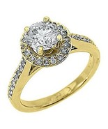 1.83 CARAT WOMENS DIAMOND ENGAGEMENT HALO WEDDING RING ROUND CUT 14K YEL... - £4,511.87 GBP