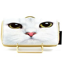 Bijorca White Cat Kitty Face Eyes Clutch Wallet New w Tags image 2