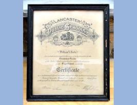 1912 antique GRAMMAR SCHOOL GRADUATION CERTIFICATE~WILLIAM L.RUDY lancas... - $67.95