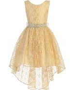 Big Girls' Sleeveless Floral Lace Rhinestone High Low Party Flower Girl ... - $52.46