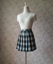 Black and White Plaid Skirt Mini Pleated Plaid Skirt Outfit A-line High Waisted image 2