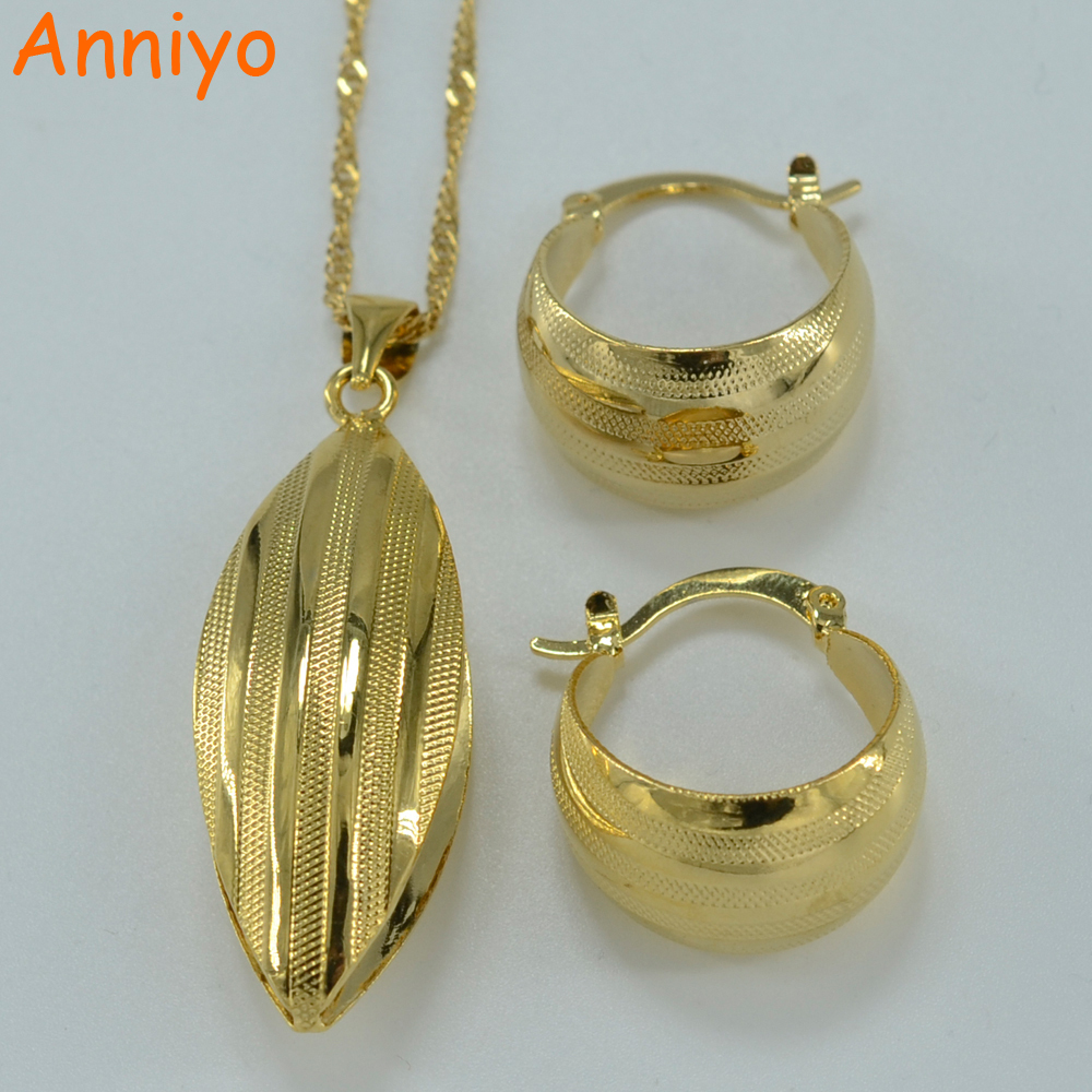 Primary image for Ethiopian set Jewelry Pendant Necklace Earring Gold Color African