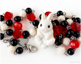 Alice in Wonderland White Rabbit Necklace, Beaded Chain, Black, Red, Cre... - $38.00