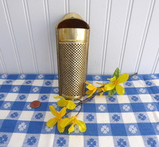 Victorian Era Tin Nutmeg Grater Coffin Shape Gold Washed UK 1890s Punched Tin - $18.00
