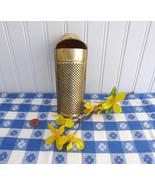 Victorian Era Tin Nutmeg Grater Coffin Shape Gold Washed UK 1890s Punche... - $18.00