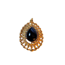 Vintage Sarah Coventry Tear Drop Pendant with Black Stone - $14.99