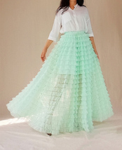 Mint Green Tiered Tulle Skirt High Waisted Tiered Long Tulle Skirt Outfit  image 4