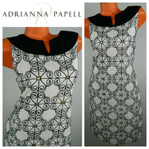 Adrianna Papell 12 Large Sundress Dress Linen Blend White Black Floral - €29,36 EUR