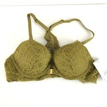 Auden Bra The Radiant Plunge Push-Up Lace Front Closure Lace Overlay Gre... - $14.50