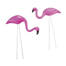 2 small Pink FLAMINGO mini Lawn Ornaments YARD art decor - Plastic. - $9.49
