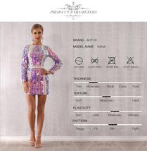 Sexy Violet Long Sleeve Sequined Mini Luxury Club Dress image 4