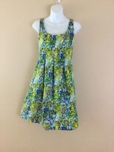 EUC Womens Nine West Pretty Sleeveless Blue Green Spring Floral Print Dr... - $23.13