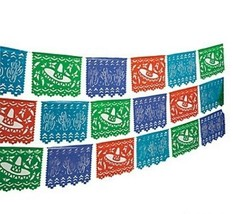 Mexican Cutout Banner Plastic 100ft Fiesta Quinceanera Decoration Indoor... - $17.40