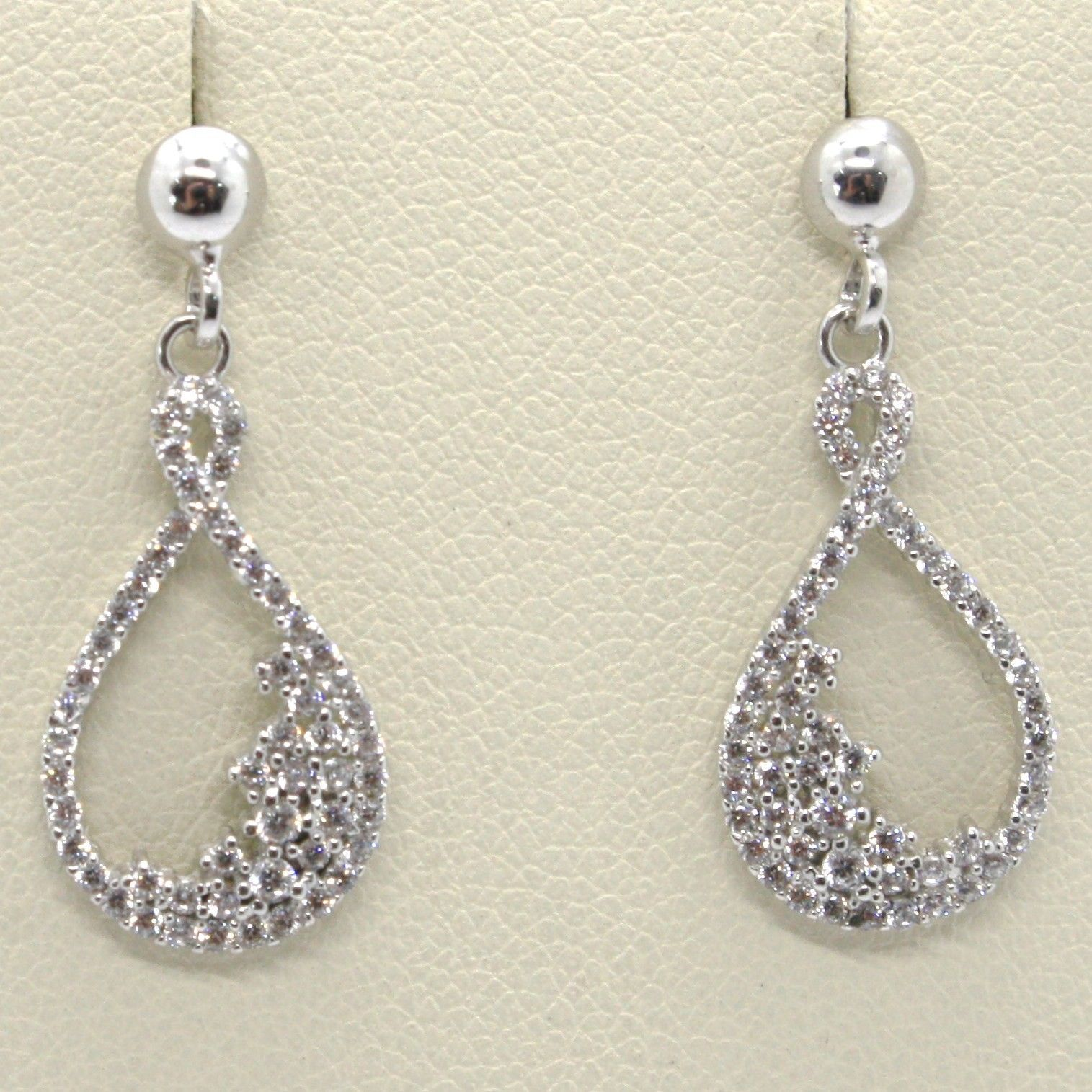 18K WHITE GOLD PENDANT EARRINGS, ZIRCONIA DROP MOON, LENGTH 23 MM, ITALY MADE
