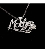 "Sterling Mother Necklace / Fancy script with rose / gift for mom / 18"" s... - $85.00"