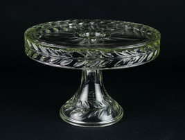 Indiana Laurel Cake Stand w Rum Well, Vintage Glass Pedestal Plate 10.25... - $34.30