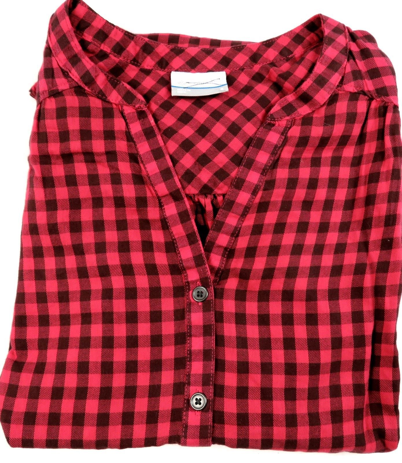 Small Columbia Women's Shirt V-Neck Pullover Red Check Plaid