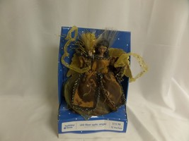 "HOLIDAY TIME LED FIBER OPTIC ANGEL DARK COMPLECTED BROWN DRESS 12"" NEW - $9.50"