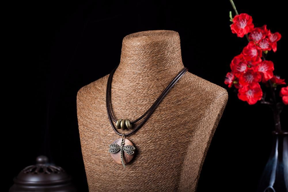 COOSTUFF Vintage Dragonfly Wooden Handmade Necklace / Pendant - Ladies / Women's image 5