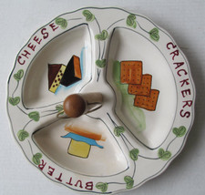 Vintage 1950s Ceramic Cheese Cracker Butter Serving Tray w/ Handle Hand-... - $19.79