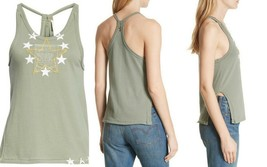 Free People Top Women's 100% Cotton Lieutenant Star Tank Top in Army, Si... - $29.00