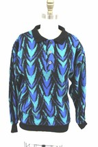 VTG 80s Womens Sweater Big Shoulders Blue  Geometric Flame Pattern M L G... - $25.07