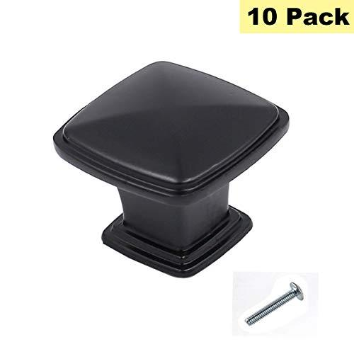 Flat Black Cabinet Knobs Square Knobs for Kitchen Cabinets 10 Pack - Peaha PH879