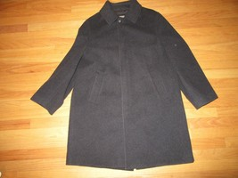 5S/LL BEAN MENS WOOL HIDDEN BUTTON COAT/POCKETS/GRAY/WIND STOPPER/LARGE! - $69.25