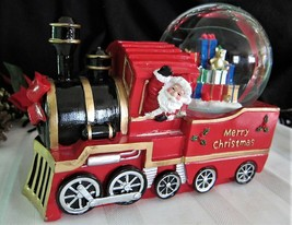 Christmas Musical Snow Globe Santa in Red Locomotive Train Engine Oversized - $65.33