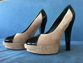 Louis Vuitton Tan Suede Black Patent Leather Accents Peep-Toe Pumps Size... - $400.00