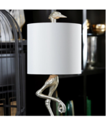 NEW White & Silver Ibis Table Lamp Modern Organic Regency Glam Horchow - $429.00