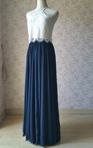 Halter Lace Navy Chiffon Skirt Long Cheap Bridesmaid Dresses Online image 5