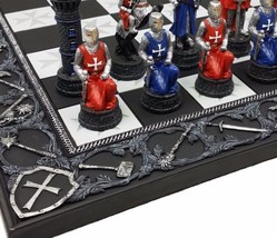 Medieval Times Crusades Red & Blue Armored Maltese Knights Chess Set W 1... - $139.95