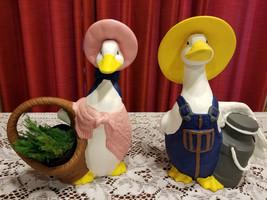 Vintage Sittre Ceramic Geese Mr & Mrs Goose Set of 2 Geese Hand Painted - $40.00