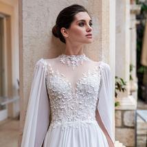 Sexy Open Back Elegant Skirt Slit Beading Lace Floral Chiffon Wedding Dress image 3