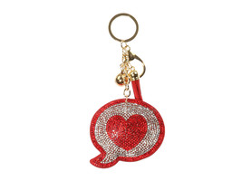 Comment Heart Tassel Bling Faux Suede Stuffed Pillow Key Chain Handbag C... - $12.95