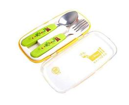PANDA SUPERSTORE Two-Piece Children's Tableware Fork&Spoon&Chopsticks(Green)