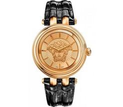 Versace Women's Vqe030015 Khai Gold Ip Black Leather Wristwatch - $2,586.31