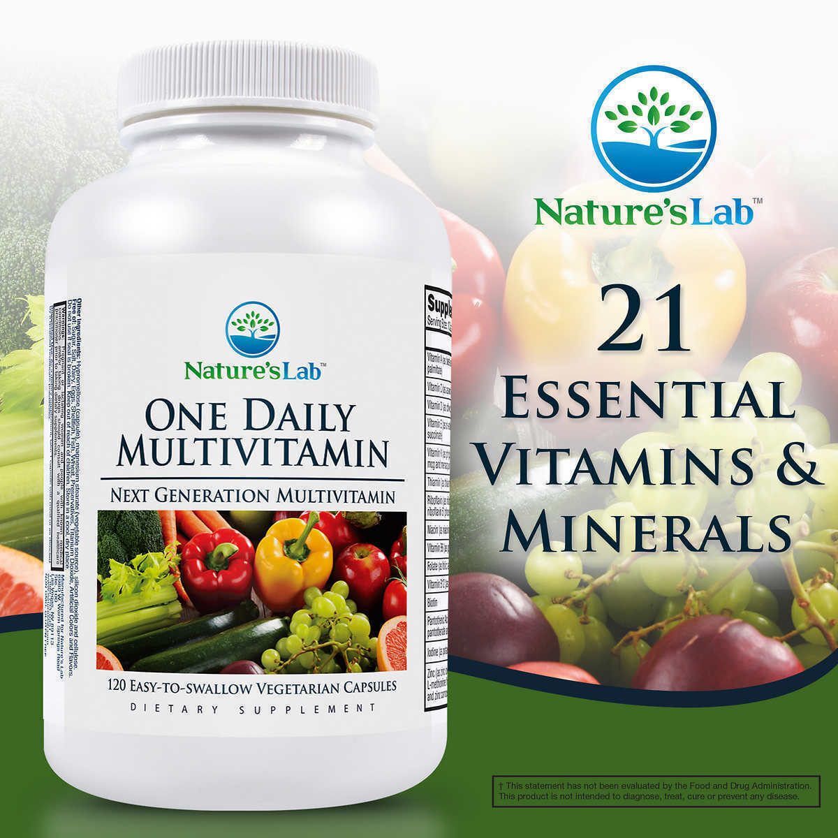 Primary image for NEW Nature's Lab One Daily Multivitamin, 120 Vegetarian Capsules*FREE SHIPPING*