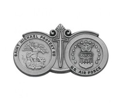 St. Michael & US Air Force Seal Visor Clip Protect Us With Cross - $12.19