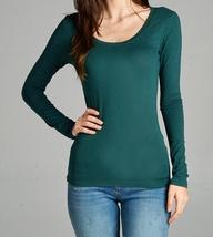 Jade Green Long Sleeve Tee, Basic Long Sleeve Layering Tee, Green Layering Tee