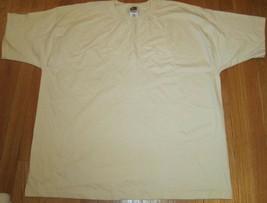Men's T-Shirt Fruit of The Loom Pocket XXL Cotton Tan Color Pre Shrunk c... - $4.69