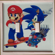 Mario Sonic Games Skateboard Light Switch outlet Wall Cover Plate Home decor image 5