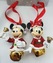Disney Parks Santa Mickey & Minnie Mouse Jingle Bell Christmas Ornament... - $19.79