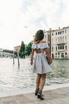 Summer Style Women's Sexy Off shoulder Striped Sundress image 3