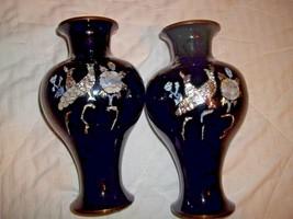 VTG TWO BLACK PORCELAIN OVER BRASS MOTHER OF PEARL VASES ASIAN PEACOCKS ... - $15.99