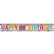 Amscan 9900970 2.7 M Happy 80th Birthday Holographic Foil Banner #ecf - $5.69