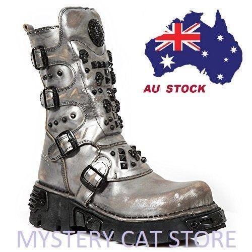 b92e7d7c5ce NEW ROCK Heavy Metal Gothic Boots M.1619-R7 Grey Silver Men's Unisex AU  STOCK