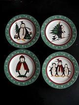 "Sakura Christmas ""Penguins"" Set of 4 Dessert Plates & 3 Cups Debbie Mumm 1998 - $25.71"