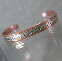 Mixed Metals Magnetic Bracelet, Solid Copper Cuff Silver and Bronze Braid - $27.72